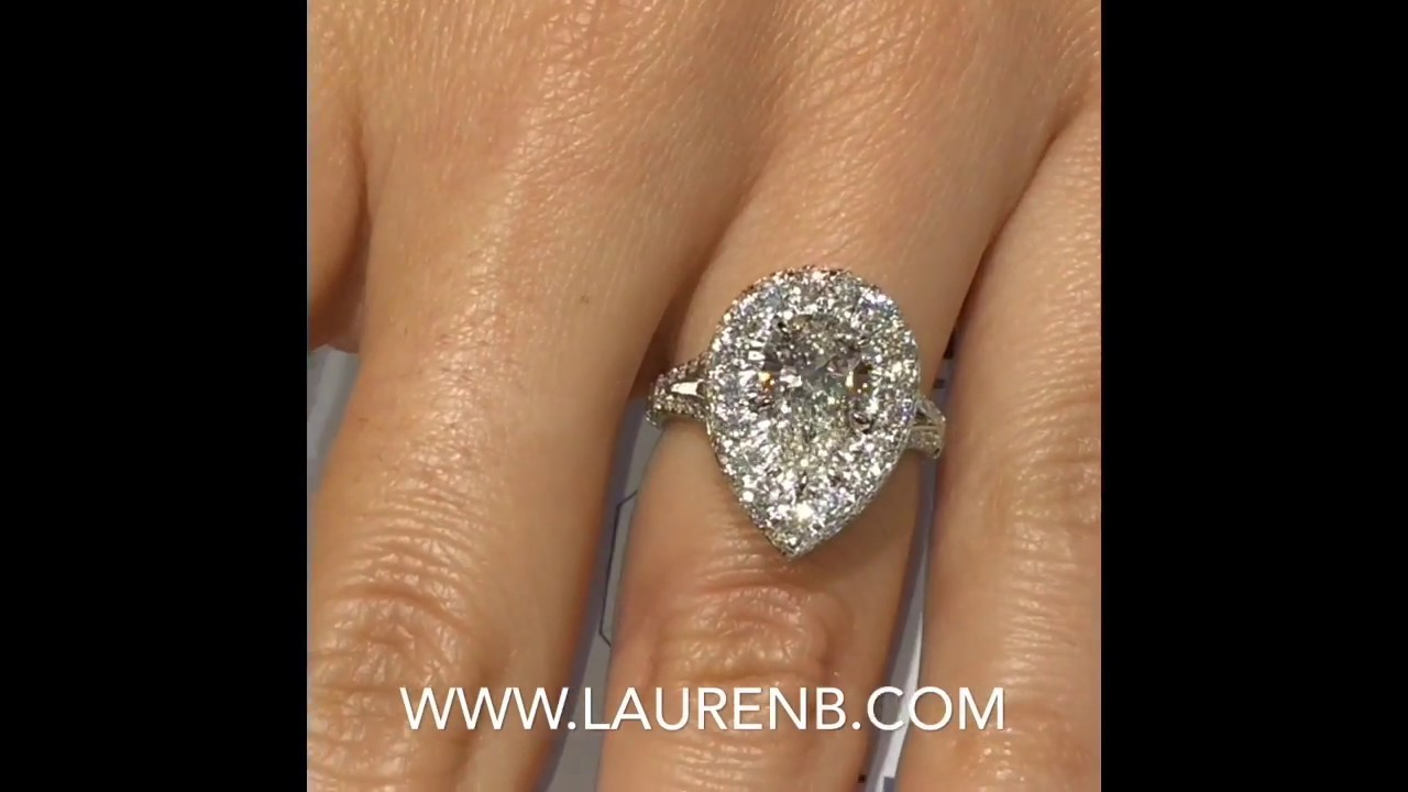 1.7 carat Pear Shape Diamond Halo Ring