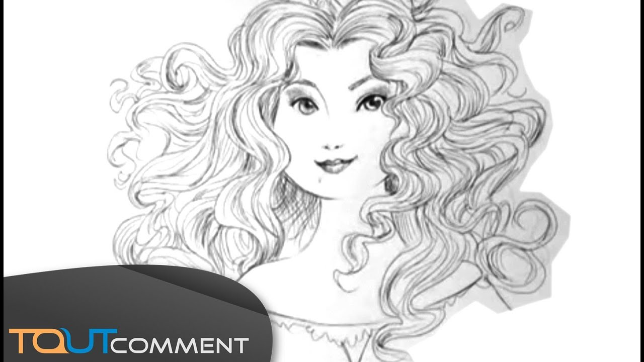 Dessiner une princesse disney m rida de rebelle brave youtube - Dessiner disney ...