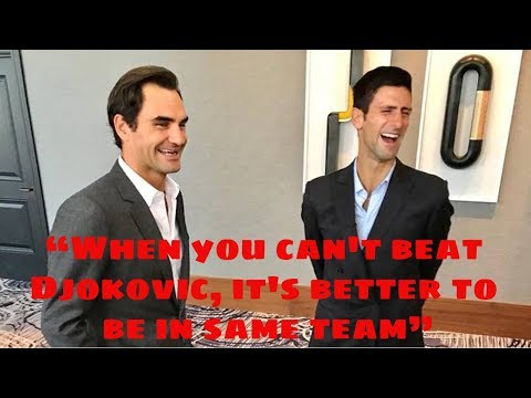 """Federer """"When you can't beat Djokovic, it's better to be in same team"""" - Laver Cup 2018 (HD)"""