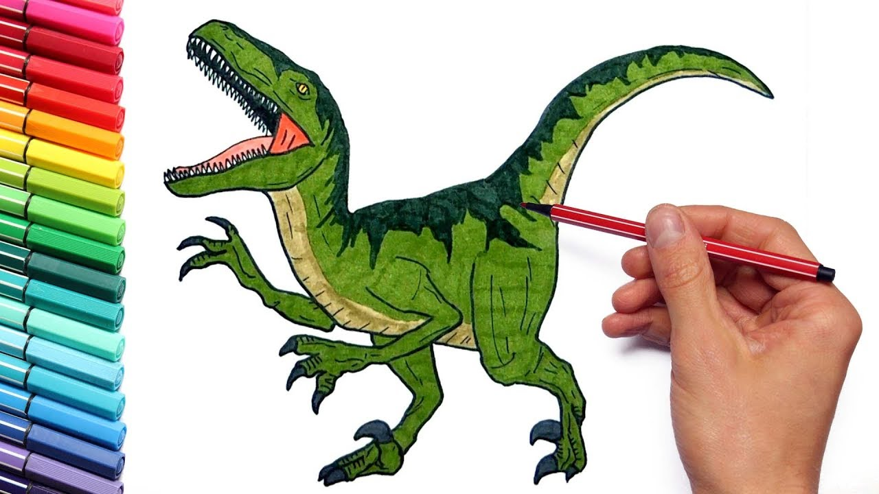 Drawing and Coloring Dinosaurs Color Pages For Childrens Learning ...