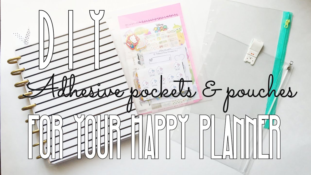 Diy adhesive pockets pouches for your happy planner for For planner