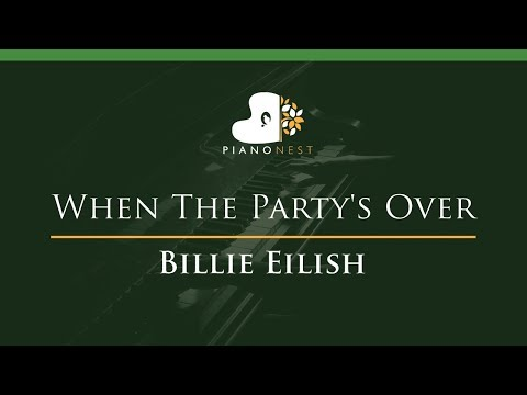 Billie Eilish - When The Party's Over - LOWER Key (Piano Karaoke / Sing Along)