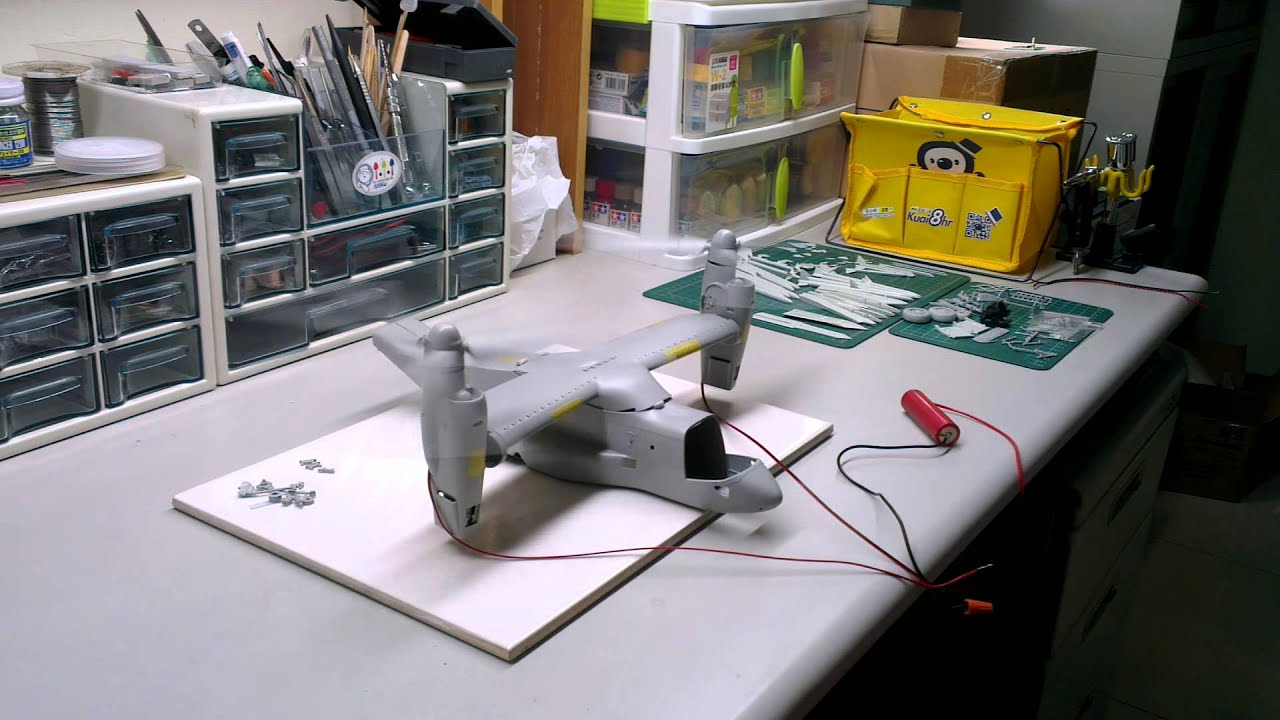 1  48 italeri v-22 osprey with motor installed