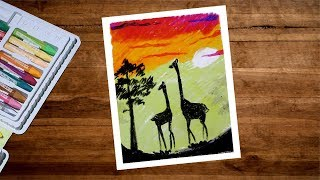 Sunset Giraffe Drawing With Oil Pastel Step By Step | Animal Scenery Drawing For Beginners