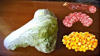 Салат с пекинской капустой, кукурузой и колбасой