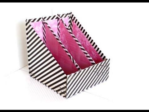 Diy 3 Pocket Magazine Holder Cardboard Storage Youtube