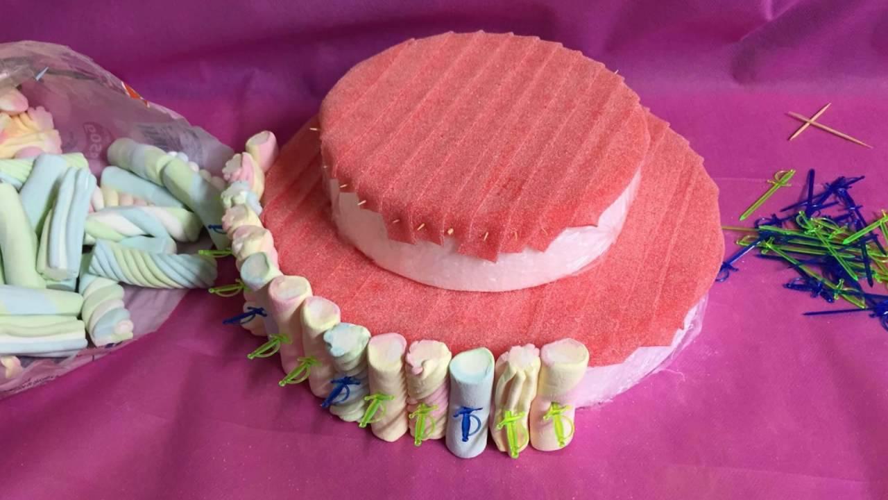 C mo hacer una tarta de chuches youtube - Como hacer figuras con chuches ...