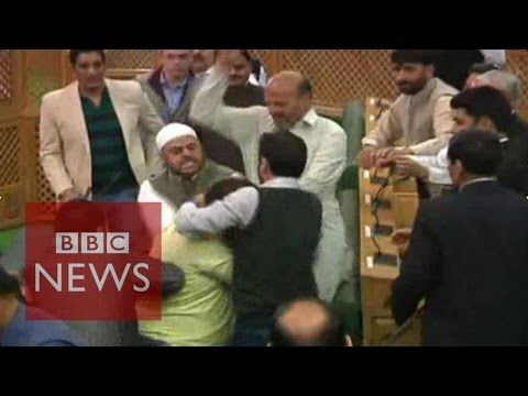 'beef-party':-indian-bjp-mps-beat-muslim-in-kashmir-assembly---bbc-news