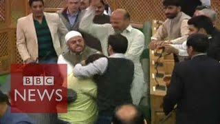 'Beef party': Indian BJP MPs beat Muslim in Kashmir assembly - BBC News