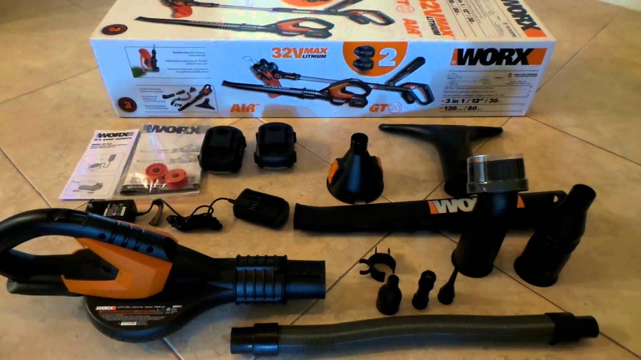32V MaxLithium Cordless WORX AIR Blower Sweeper PART 2 YouTube