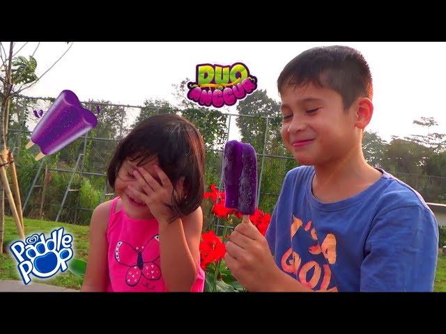 Pesta Es Krim Paddle Pop Duo Anggur di Taman Bermain - Ice Cream Challenge Fail