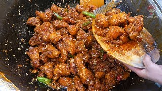 Sweet and sour chicken (dakgangjeong) - Korean street food
