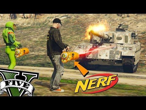GTA V Online - Usei a NERF Mini Gun contra TANQUE ZANCUDO e NÃO ACREDITEI!
