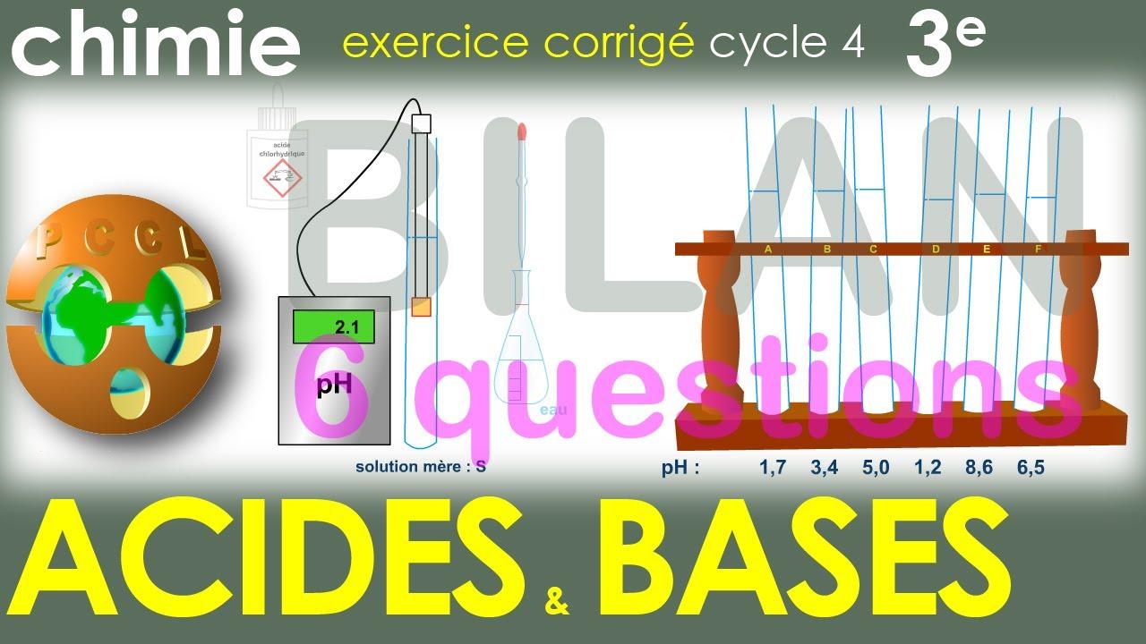 Acides Bases Effet De La Dilution Sur Le Ph Bilan 6 Items Exercice Physique Chimie Cycle 4 3e Youtube