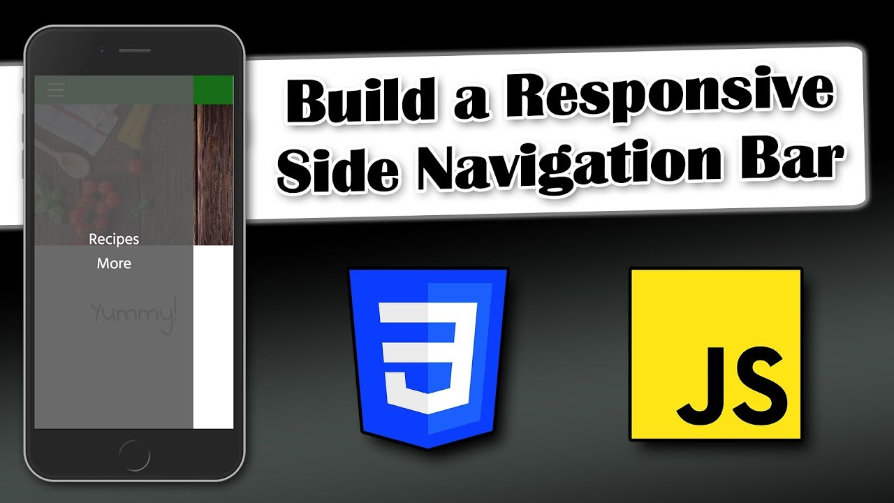 Build A Responsive Side Navigation Bar Css And Javascript Youtube