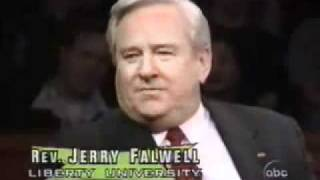 Christine O'Donnell and Jerry Falwell talk God with Bill Maher Pt  1