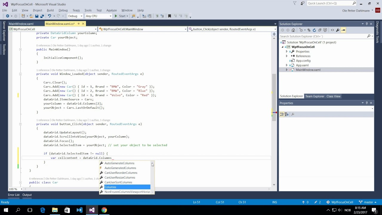 WPF datagrid focus on cell – Ole Petter Dahlmann