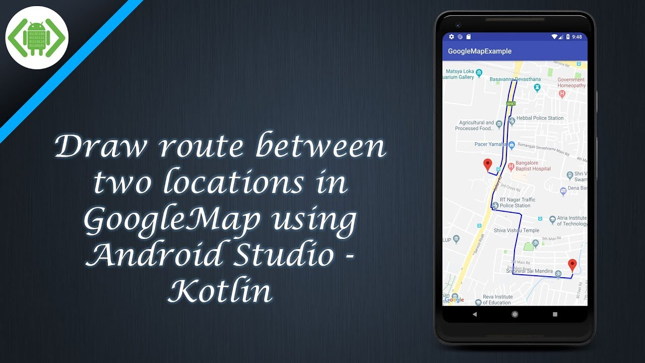 Draw route between two locations in GoogleMap using Android Studio on