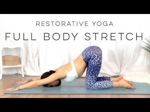 20 Minute Restorative Yoga Full Body Stretch   30 Days Of Yoga