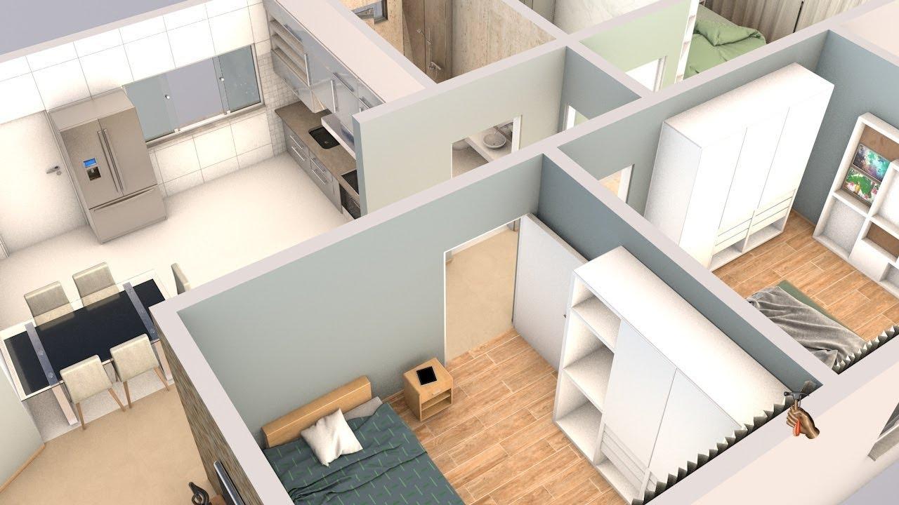 Planta 3d Com Três Quartos Sala Cozinha E Dois Banheiros Youtube