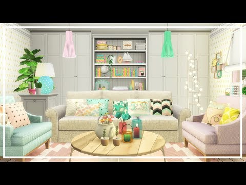 SIMS 4 PASTEL LIVING ROOM 💜 Build + CC List