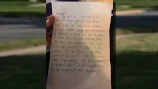 Woman gets 'racist' letter from someone in neighborhood