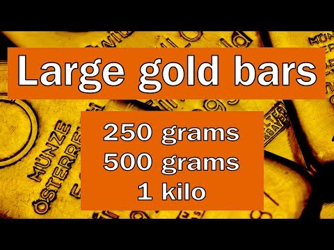 Large gold bars - 250 grams, 500 grams & 1 kilo with explanation of mint marks