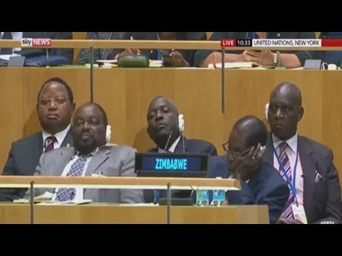 Zimbabwe President Robert Mugabe & Staff Fall Asleep During Trump's UN Speech