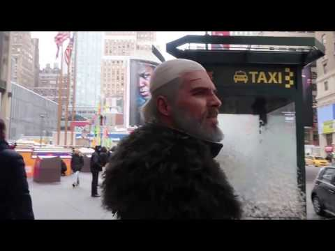 Geralt of Rivia catching a ride in New York City (Maul Cospaly)