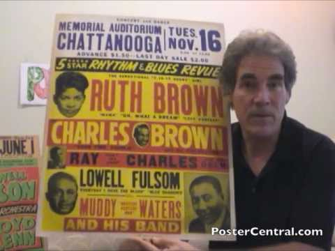 Muddy Waters Concert Poster 1950s w/Ray Charles, Ruth Brown