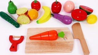 Cutting Pretend Play Food Learn Colors with Fruits and Vegetables