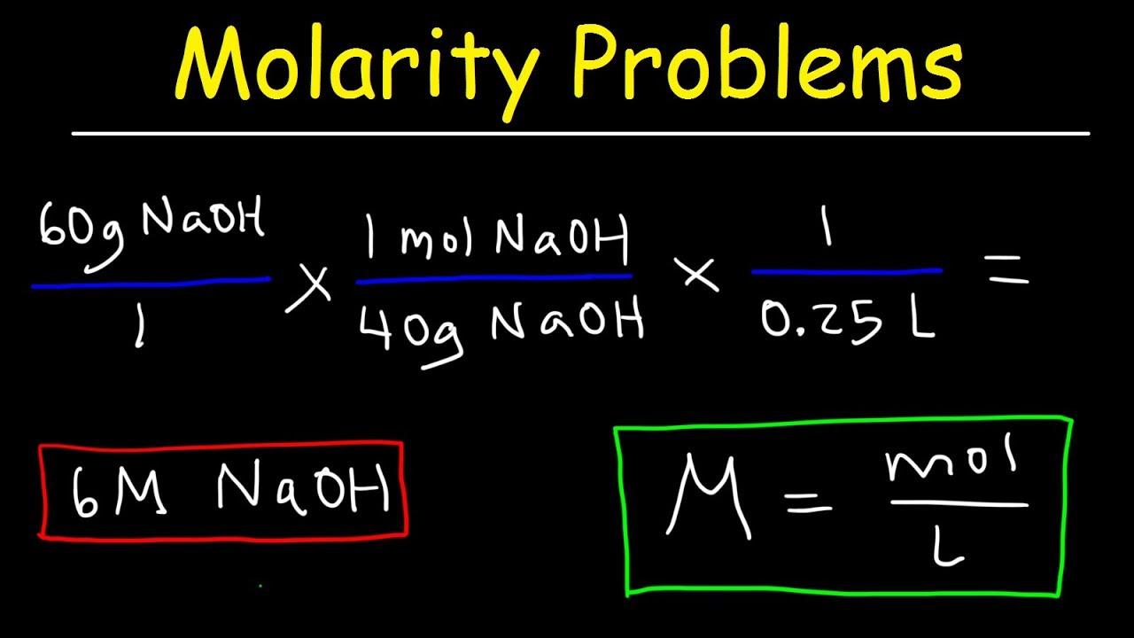 Molarity Practice Problems Youtube