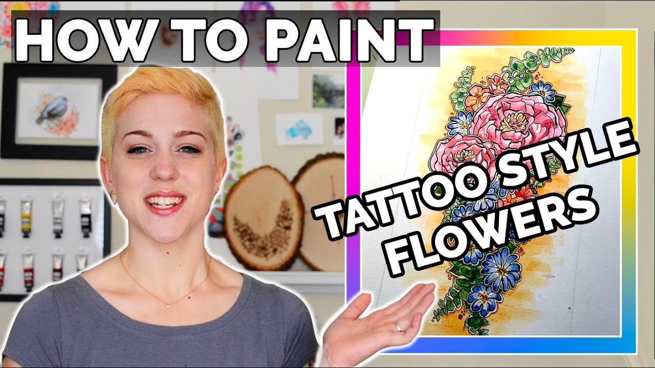 How to paint TATTOO STYLE flowers ❀