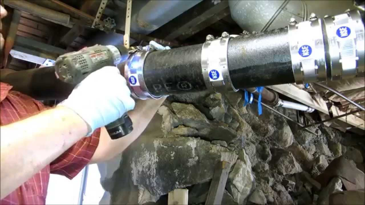 "rotted 4""cast iron drain pipe replaced - YouTube"