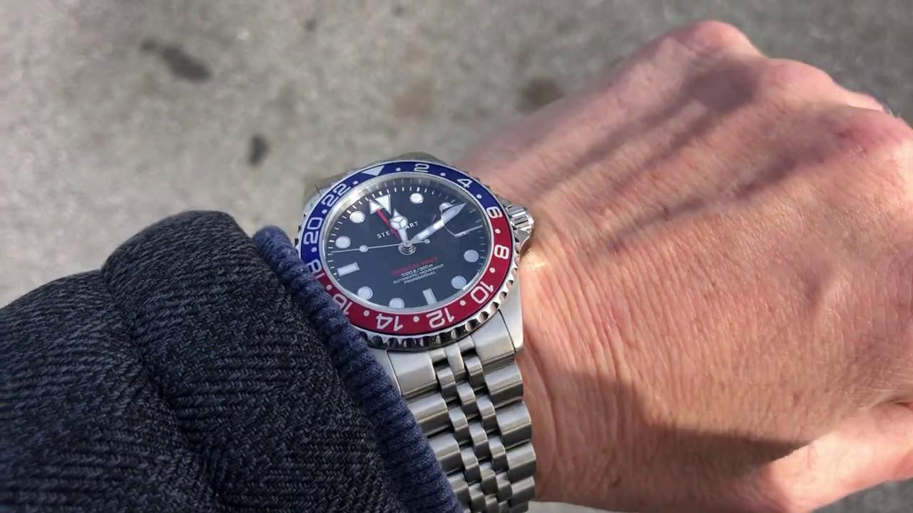 STEINHART GMT-OCEAN One 39 blue red   Diver watch to 30 ATM