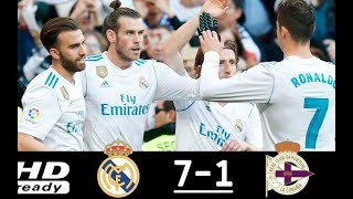 Real Madrid vs Deportivo La Coruna 7-1 All Goals & Highlights-La Liga- 21/1/2018 HD