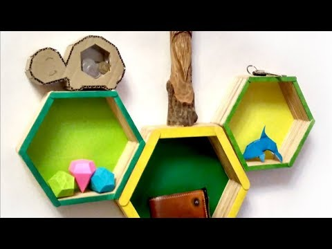 EASY DIY: Modern Hexagon SHELF made from STICKS - Yakomoga