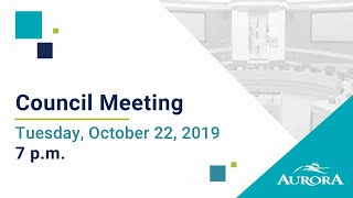 Youtube video::October 22, 2019 Council Meeting