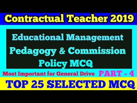 Educational Management ,Pedagogy, Commission & Policy MCQ !! Important For  Contractual Teacher/CTET