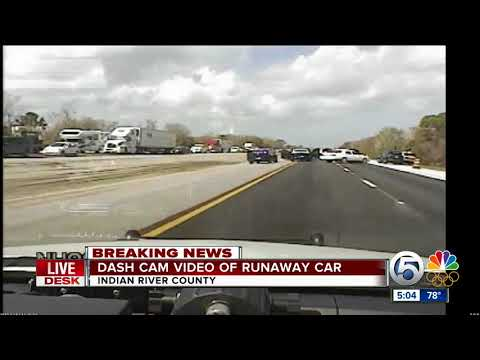 Dash cam video of runaway car in Indian River County