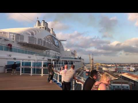 Majestic Princess sounding the Love Boat horn on her departure from Livorno, Italy
