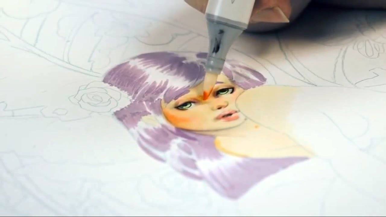 how to color skin with copic markers part 3 refining the facial features youtube - Skin Color Markers