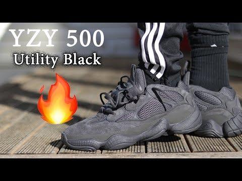 yeezy 500 black on feet