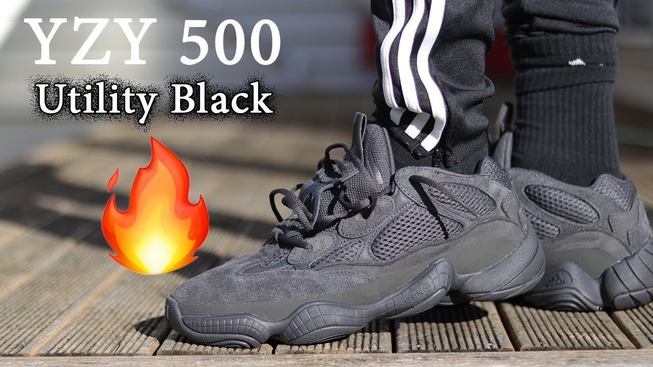 da8b8355a Yeezy 500  UTILITY BLACK  On-Feet + Close Up w  Different Pants ...