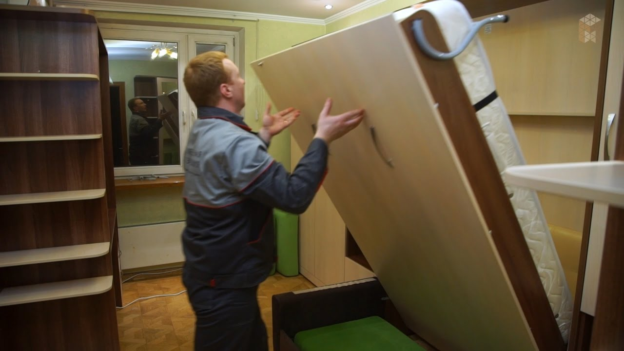 Купить мебель-транфсормер от производителя по низкой цене в москве. Откидная кровать встроенная в шкаф с диваном «валерия». Кровать-диван.