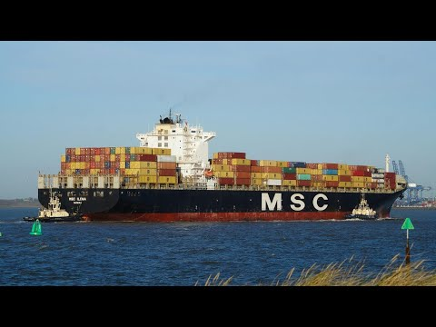 Container ship MSC ILONA arrives at harwich harbour 30/11/18
