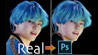 Drawing BTS V (Taehyung) Realistic Drawing in Photoshop- BTS K-POP Art