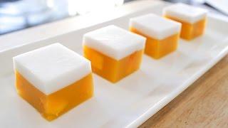 Mango Coconut Jelly (Agar Agar) Recipe วุ้นมะม่วง - Hot Thai Kitchen