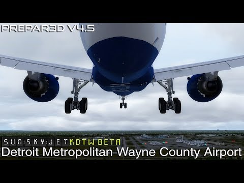 [P3D V4.5] Delta Airlines FICTIONAL Boeing 787-9 Approach to Detroit   SunSkyJet BETA