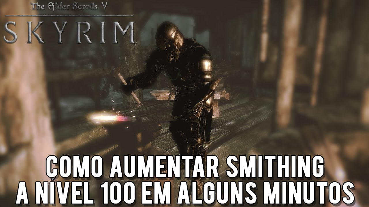skyrim how to get 100 smithing